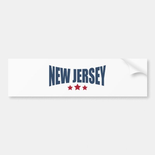 New Jersey Three Stars Design Bumper Sticker
