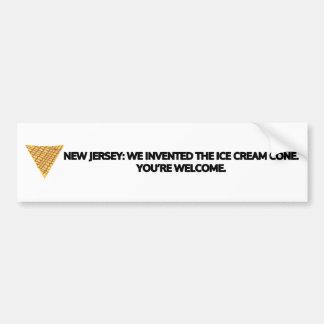New Jersey: We invented the ice cream cone. Bumper Sticker