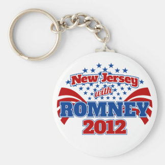 New Jersey with Romney 2012 Basic Round Button Key Ring