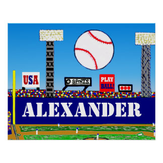 New Kids Sports Baseball Personalized Poster Art