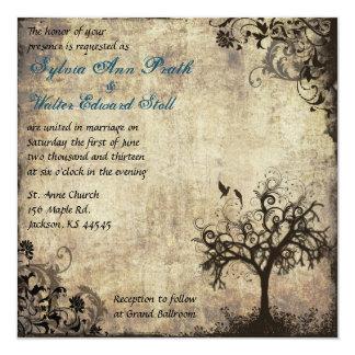 New Life Vintage with Blue Wedding Invitation