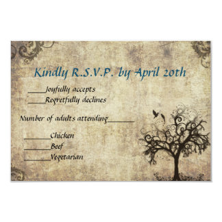 New Life Vintage with Blue Wedding RSVP Card 9 Cm X 13 Cm Invitation Card
