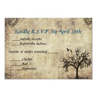 New Life Vintage with Blue Wedding RSVP Card Custom Invites