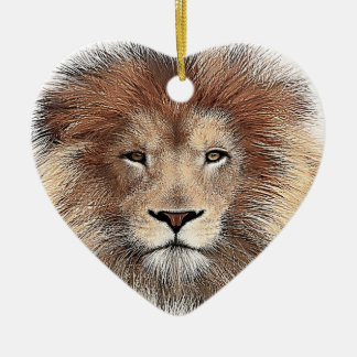 New Lion Print Ceramic Heart Decoration