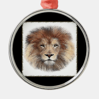 New Lion Print Silver-Colored Round Decoration