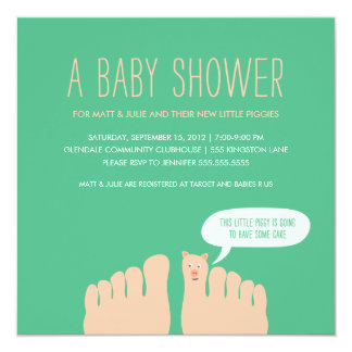 New Little Piggies Baby Shower 5.25x5.25 Square Paper Invitation Card