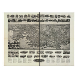 New London Connecticut 1911 Panoramic Map Poster