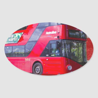 New London Red Bus Oval Sticker