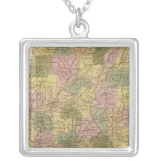New Map Of Alabama 2 Silver Plated Necklace