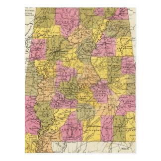 New Map Of Alabama Postcard