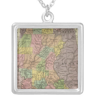 New Map Of Alabama Silver Plated Necklace