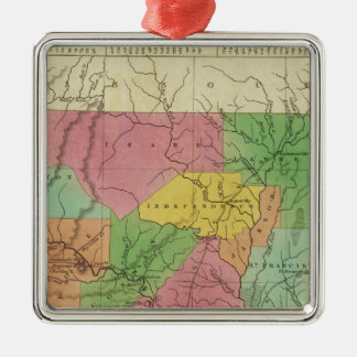 New Map Of Arkansas 2 Silver-Colored Square Decoration