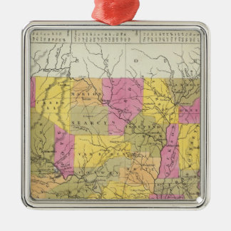 New Map Of Arkansas Silver-Colored Square Decoration