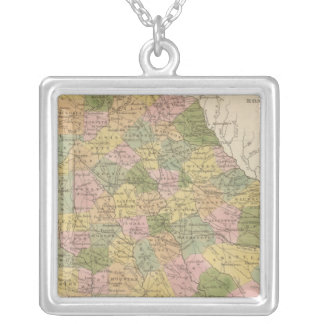 New Map Of Georgia Silver Plated Necklace