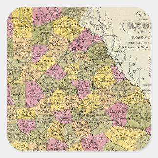 New Map Of Georgia Square Sticker