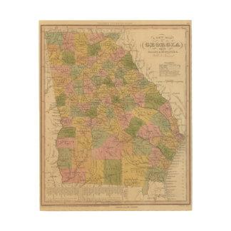 New Map Of Georgia Wood Wall Art