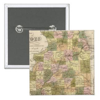 New Map Of Illinois 2 15 Cm Square Badge