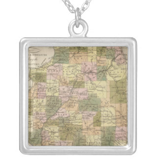 New Map Of Illinois 2 Silver Plated Necklace