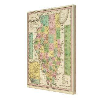 New Map Of Illinois Canvas Print