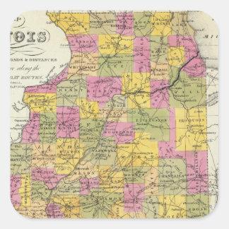 New Map Of Illinois Square Sticker