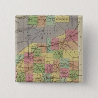 New Map Of Indiana 15 Cm Square Badge