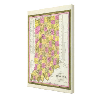 New Map Of Indiana 2 Canvas Print