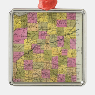 New Map Of Indiana 2 Silver-Colored Square Decoration
