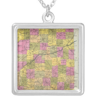 New Map Of Indiana 2 Silver Plated Necklace