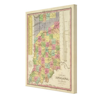New Map Of Indiana Canvas Print