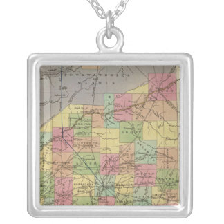 New Map Of Indiana Silver Plated Necklace
