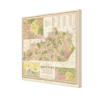 New Map Of Kentucky 2 Canvas Prints