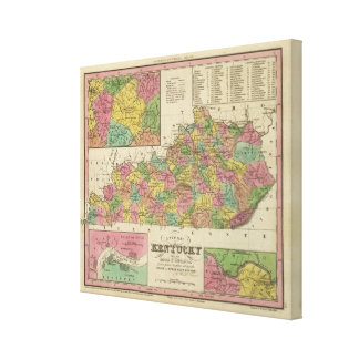 New Map Of Kentucky Gallery Wrapped Canvas