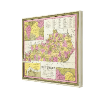 New Map Of Kentucky Canvas Prints