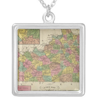 New Map Of Kentucky Silver Plated Necklace