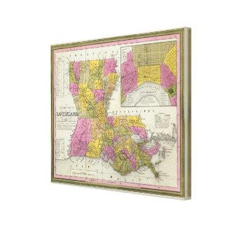 New Map Of Louisiana 2 Canvas Print