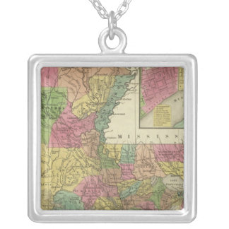 New Map Of Louisiana 2 Silver Plated Necklace