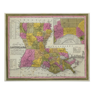 New Map Of Louisiana 3 Poster