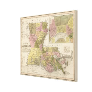 New Map Of Louisiana Canvas Print