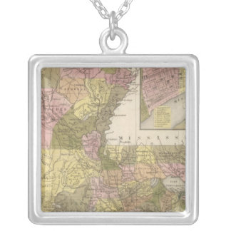 New Map Of Louisiana Silver Plated Necklace