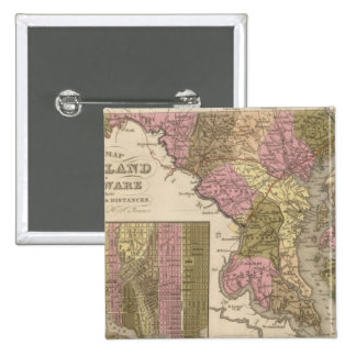New Map Of Maryland and Delaware 15 Cm Square Badge