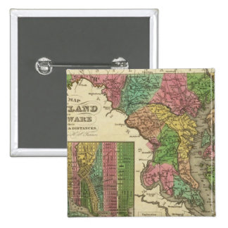 New Map Of Maryland and Delaware 2 15 Cm Square Badge