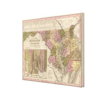 New Map Of Maryland and Delaware 2 Canvas Print