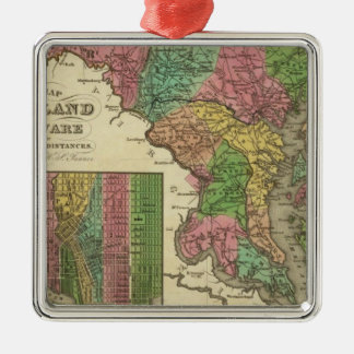 New Map Of Maryland and Delaware 2 Silver-Colored Square Decoration