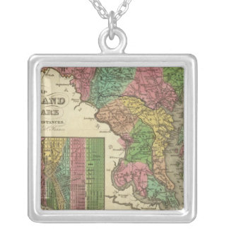 New Map Of Maryland and Delaware 2 Silver Plated Necklace