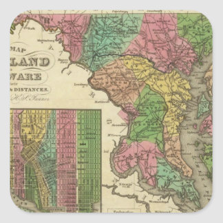 New Map Of Maryland and Delaware 2 Square Sticker
