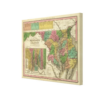 New Map Of Maryland and Delaware Canvas Print
