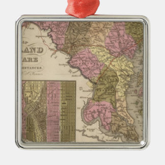 New Map Of Maryland and Delaware Christmas Ornament