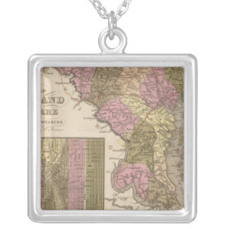 New Map Of Maryland and Delaware Silver Plated Necklace