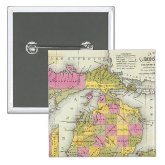 New Map Of Michigan 2 15 Cm Square Badge