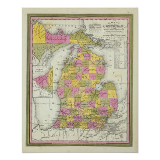 New Map Of Michigan 2 Poster